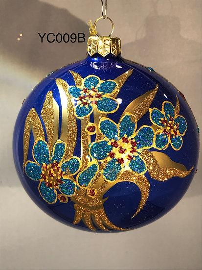 "Thomas Glenn ""Light Blue Flowers on Blue"" Ball Ornament #YC009B"