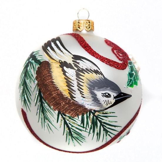 "#1523 - Thomas Glenn ""Bird and Holly"" Ball Ornament"