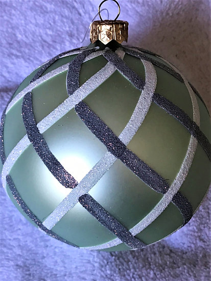 "#1517X - Thomas Glenn ""Lattice - Pale Green Prototype"" Ball Christmas Ornament"