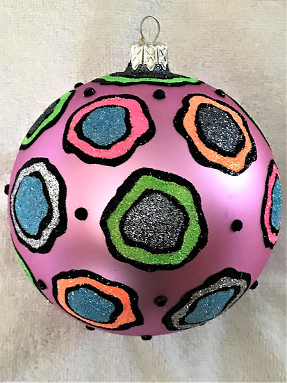 "#252 - Thomas Glenn ""New Glitter Pink"" Ball Christmas Ornament"