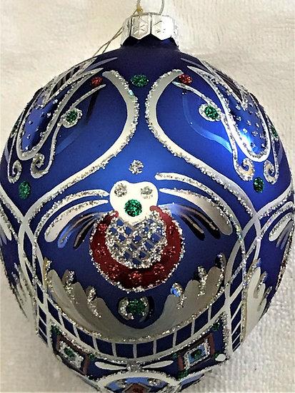 "#19B - Thomas Glenn ""Blue Egg with Dutch Design"" Egg Christmas Ornament"