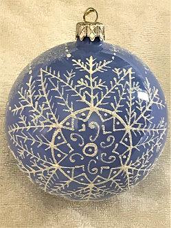 "#95LB - Thomas Glenn ""Snow on Light Blue"" Ball Christmas Ornament"