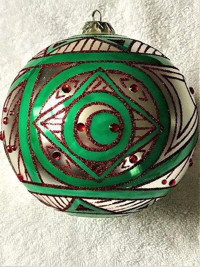 "#742 - Thomas Glenn ""Deco Ball - Red & Green"" Ball Christmas Ornament"