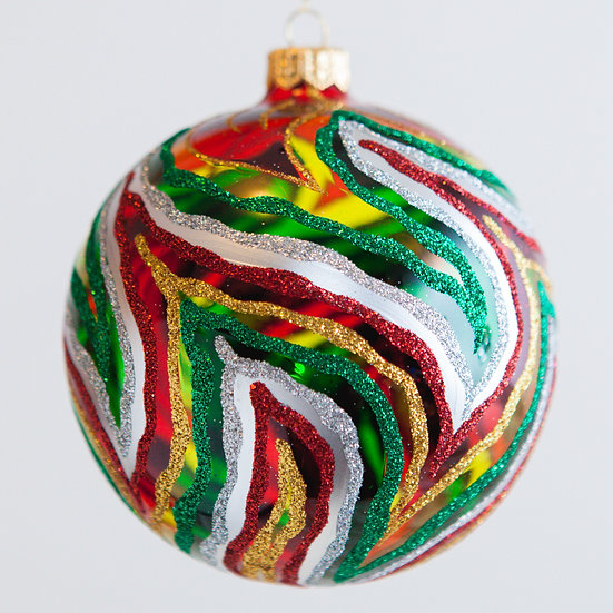 "#250 - Thomas Glenn ""Swirl - Red and Green"" Ball Ornament"