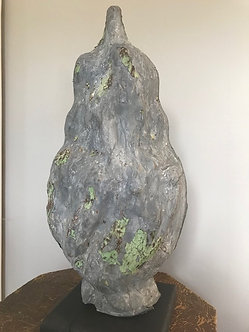 Antique Zinc Flame Finial on Stand