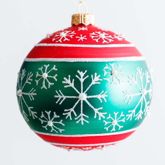 "#1959 - Thomas Glenn ""Snowfall Red and Green"" Ball Ornament"