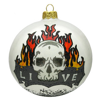"#1637 - Thomas Glenn ""Live Flaming Skull Tattoo"" Ornament"