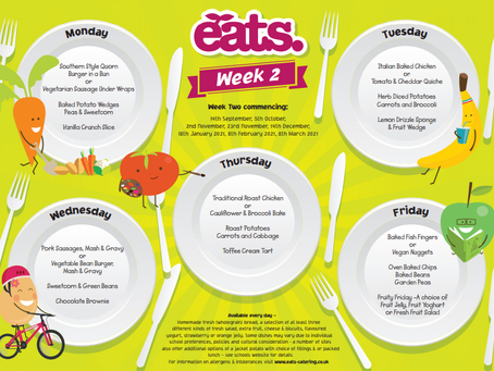 Menu for week Monday 14th - Friday 18th December