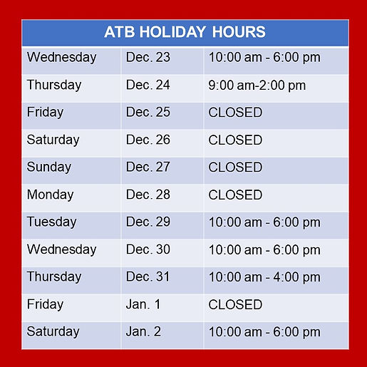Holiday Hours ATB 2020 Around the Block