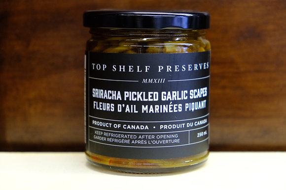 Sriracha Pickled Garlic Scapes
