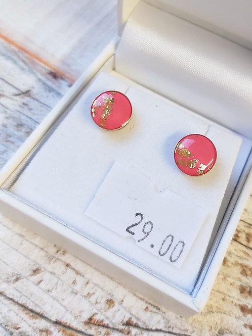 Sterling Silver hot pink & gold stud earrings