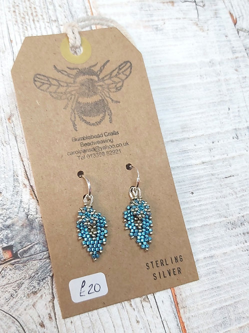 Sterling Silver layered turquoise drop earrings