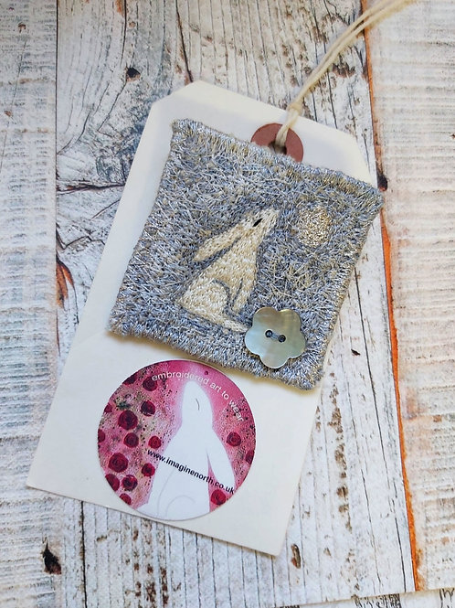Hare & Moon Blue textile brooch by Imagine North