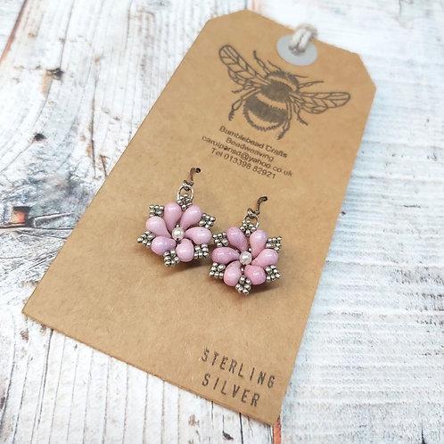 Pink & silver beaded floral drop earrings