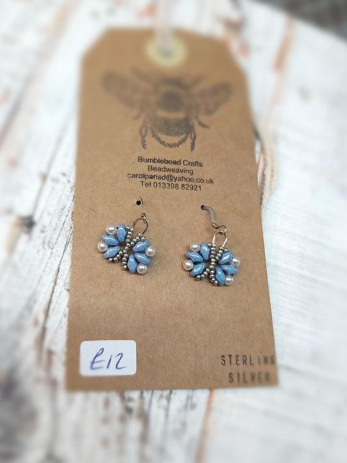 Light blue & pearl drop silver earrings