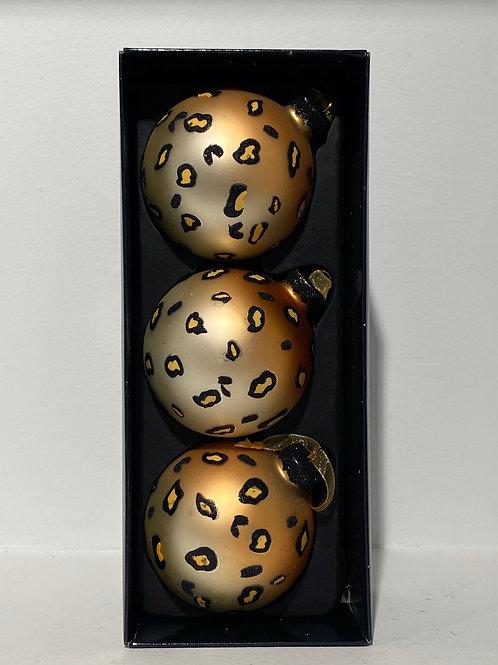 Leopard Kerstballen Set
