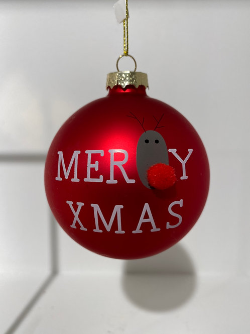 'Merry Christmas' Kerstbal - Rood