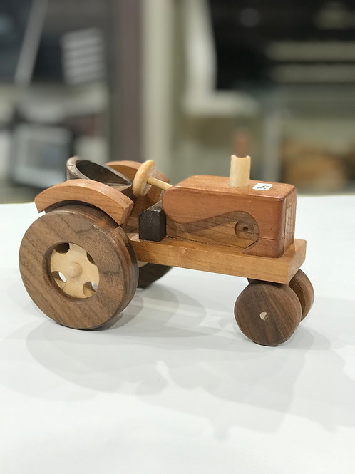 Handcrafted Wood Tractor & Wagon Set