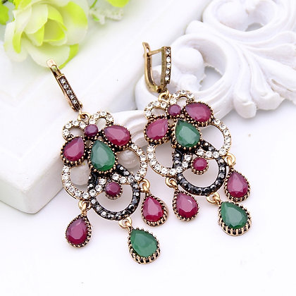 """Asfa"" - Turkish Dangle Multi Gem Earrings"