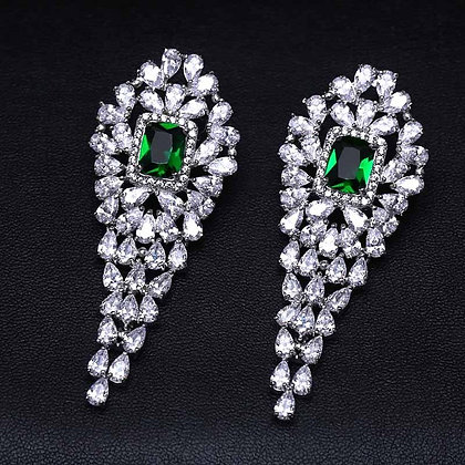 """Aabla"" - Emerald Sparkle Cubic Zirconia Earrings"