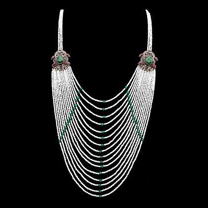 """Donya"" - Emerald Multi Layered Necklace"