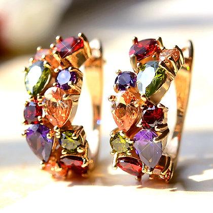 """Seeka"" - Multi Gem Rose Gold Earrings"