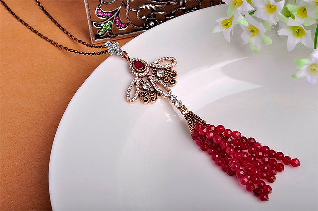 """Arya"" - Vintage Ruby Beads Long Necklace"