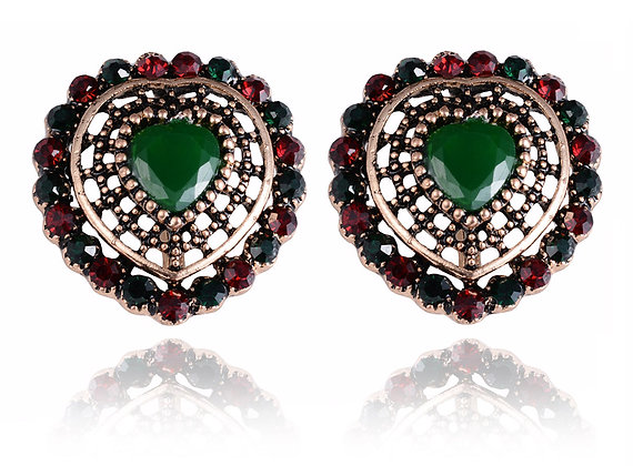 """Naza"" - Emerald Heart Earrings"