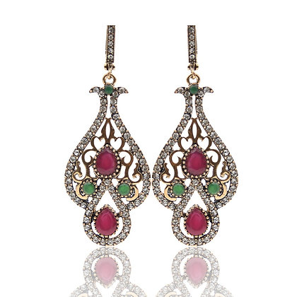 """Tafsut"" - Scroll Drop Multi Gem Earrings"