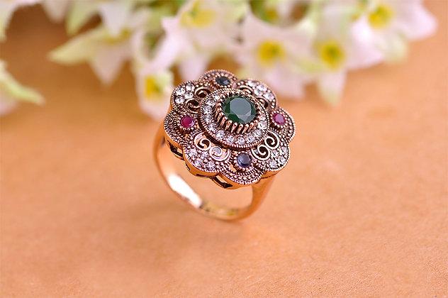 """Ishtar"" - Emerald Flower Ring"