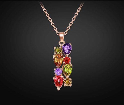 """Yamin"" - Multi Gem Rose Gold Necklace"