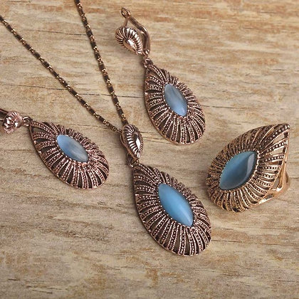 """Neelum"" - Blue Opal Drop Set"
