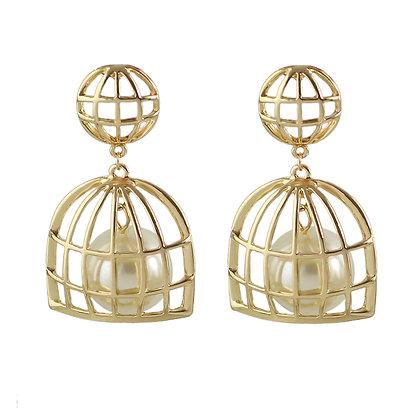 """""""Bella"""" - Caged Pearl Earrings"""