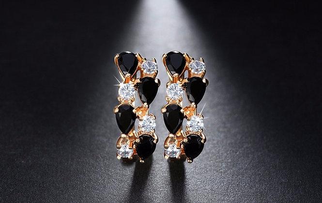 """Zada"" - Sparkly Onyx Cubic Zirconia Earrings"