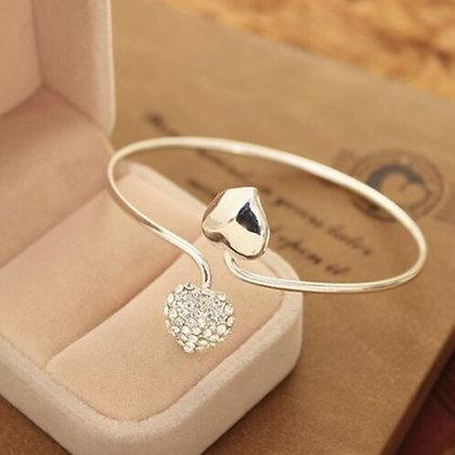 """""""Cara"""" - Crystal Silver Heart Bangle"""