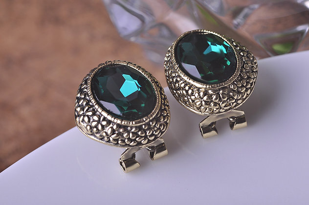 """Elsem"" - Emerald Antique Earrings"