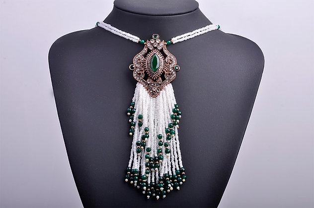 """Abda"" - Elegant Emerald Long Necklace"