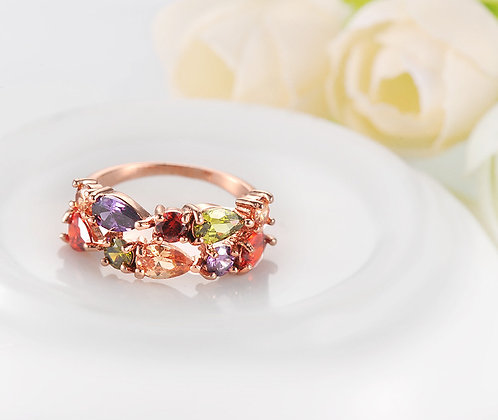 """Veena"" - Multi Gem Rose Gold Ring"