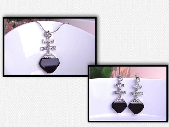"""Ayra"" - Onyx Silver Drop Set"