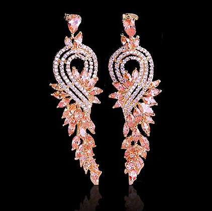 """Shakira"" - Champagne and Cubic Zirconia Earrings"