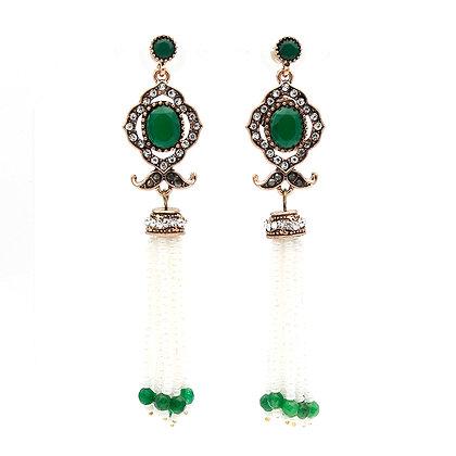 """""""Lamis"""" - Emerald Pearl Long Earrings"""