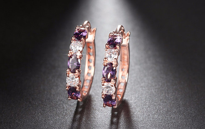 """Lina"" - Amethyst Cubic Zirconia Earrings"