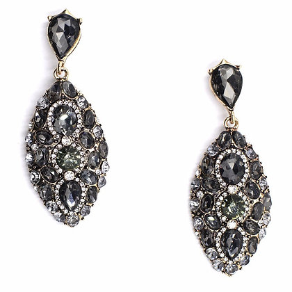"""Kayan"" - Crystal Grey Statement Earrings"