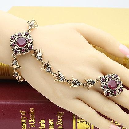 """""""Zasha"""" - Turkish Ruby Bracelet with Ring"""