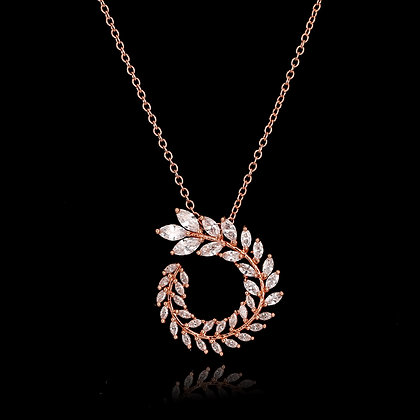 """""""Kalila"""" - Cubic Zirconia Circle of Leaves Necklace"""