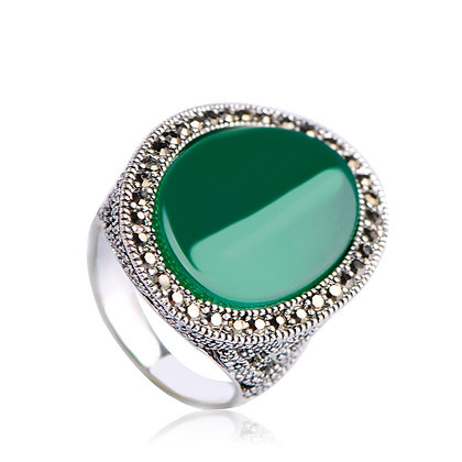 """Daji"" - Emerald Silver Ring"