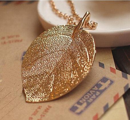 """Lainey"" - Gold Leaf Long Necklace"