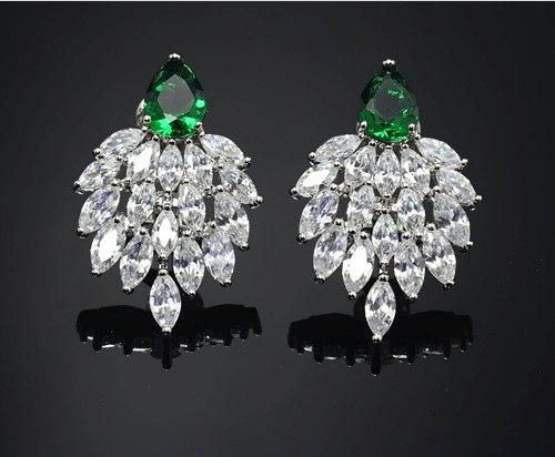 """Fatin"" - Cubic Zirconia and Emerald Earrings"