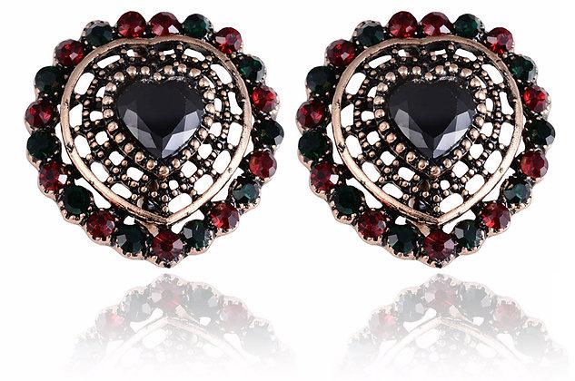 """Naza"" - Onyx Heart Earrings"