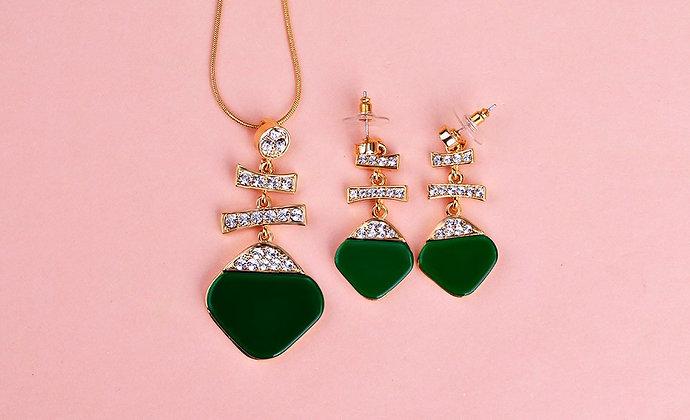 """""""Ayra"""" - Emerald Gold Drop Set"""